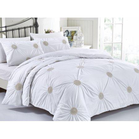 Tahiti Pearl 3 Piece Cotton White Duvet Cover Bedding Set Metallic Gold Covers Full Queen Standard Decorative Pillow Shams