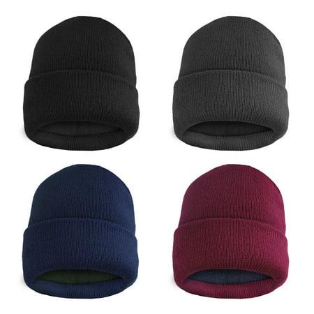 4 Pack MensThermal Fleece Lined Winter Cuff Beanie Hats- Winter Bulk Value Set Bula Winter Hat