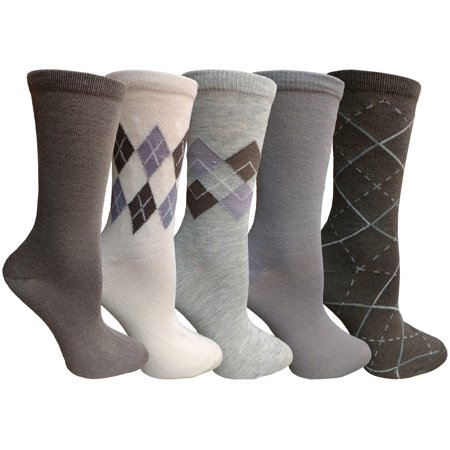 Stock Pattern (Yacht&Smith 5 Pairs of Womens Crew Socks, Fun Colorful Hip Patterned Everyday Sock (Assorted Argyle)
