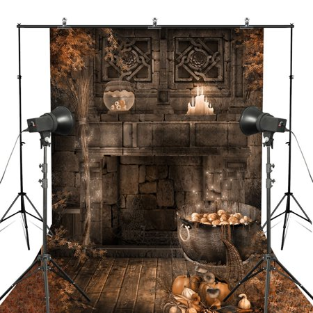 Stone Barn Castle Halloween (GreenDecor Polyester Fabric 5x7ft Halloween Castle Photography Backdrop Pumpkin Ruins Stone Wall Backgroud)