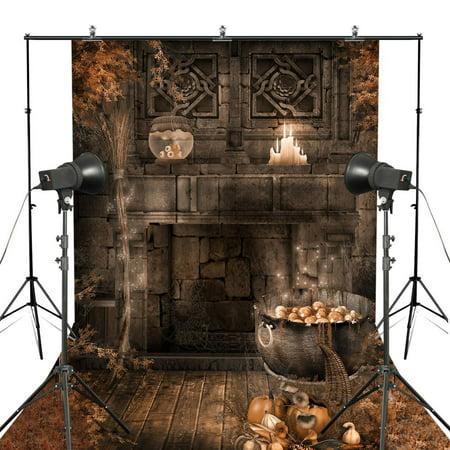 GreenDecor Polyester Fabric 5x7ft Halloween Castle Photography Backdrop Pumpkin Ruins Stone Wall Backgroud Backdrop