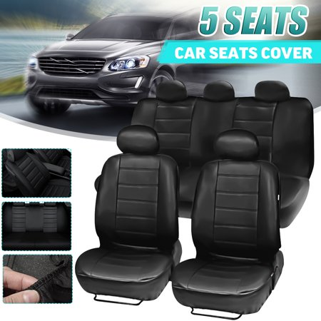 5 Seats PU Leather Car Seat Cover Breathable Waterproof Four Seasons Universal Deluxe Full Car Front Seat Protector for Sedan SUV Van Truck ,Black