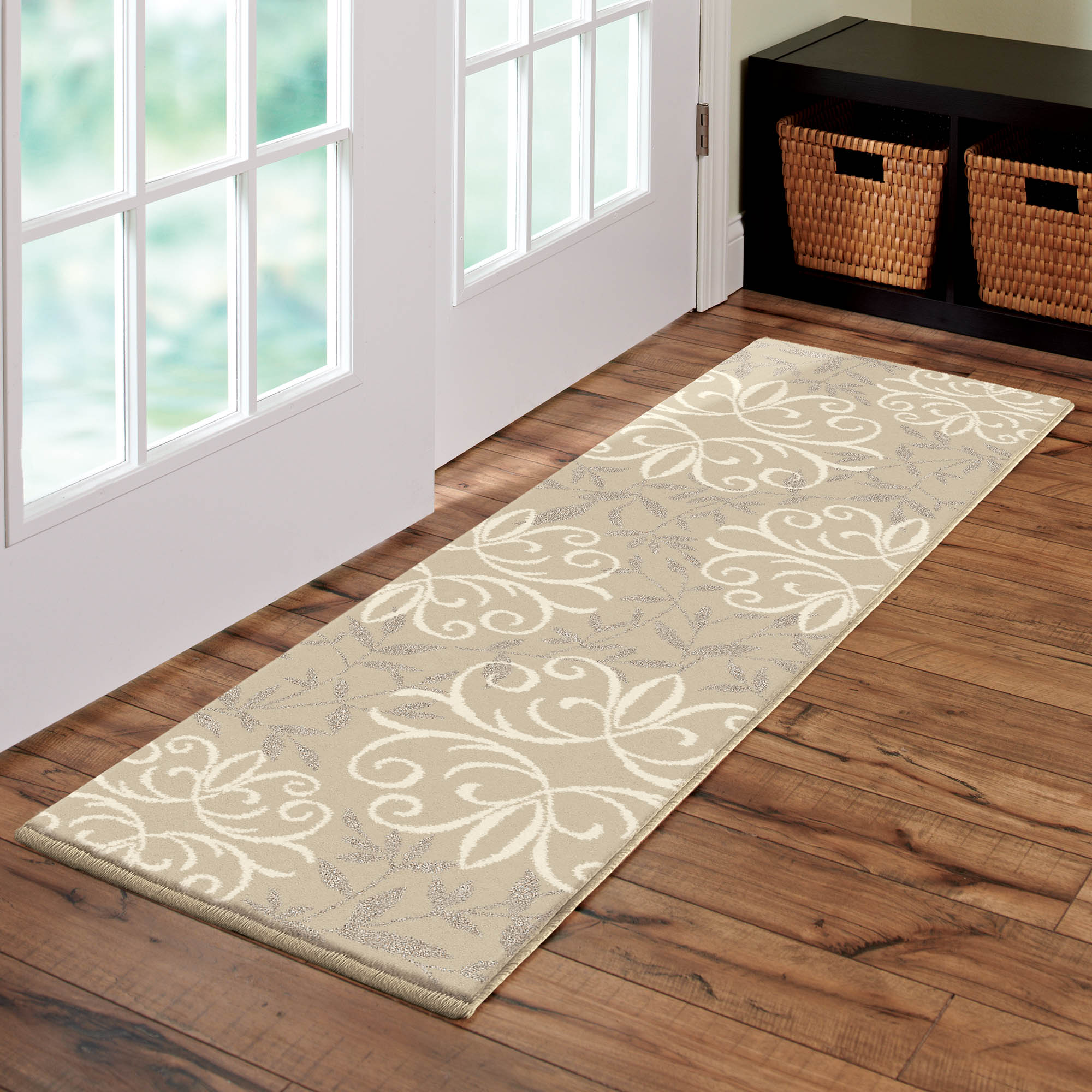 Click here to buy Better Homes & Gardens Iron Fleur Area Rug or Runner by Orian Rugs.