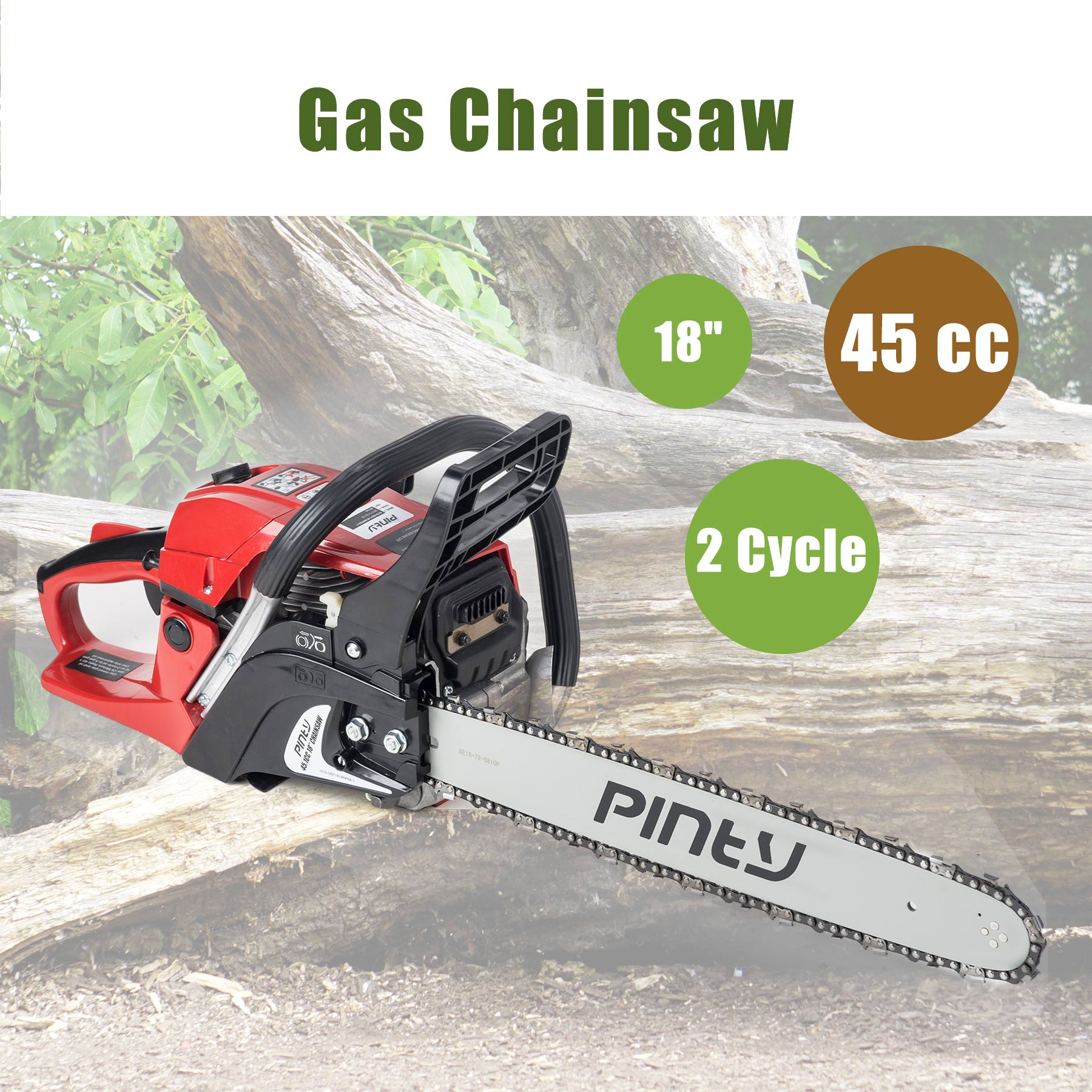 "18"" 45.1 cc Gas Powered Heavy Duty Chainsaw w/ 2-stroke Engine, EPA Approved"