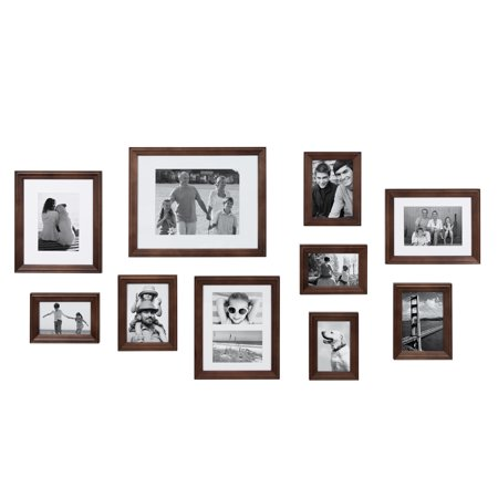 Kate and Laurel Bordeaux Modern Gallery Wall Kit, Set of 10 with Assorted Size Frames with Dark Espresso Finish