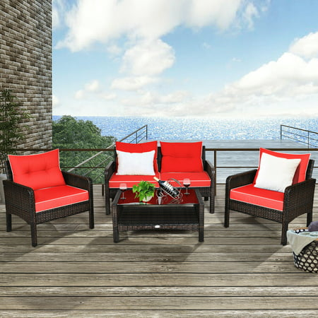 Costway 4-piece Outdoor Patio Rattan Wicker Loveseat, 2 Single Sofas And 1 Tea Table with Red Cushions