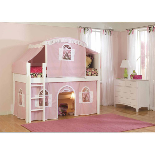 Bolton Furniture Cottage Twin Low Loft Bed, White with Pink/White Top Tent and Bottom Curtain