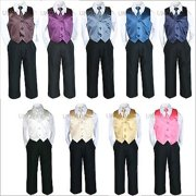 4pc Satin Vest Necktie Boy Suit Set Baby Toddler Kid Formal size Small  to 7