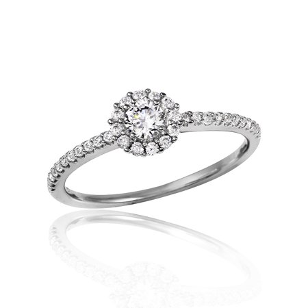 Clear Pave Set Cubic Zirconia Small Halo Flower Design Ring Rhodium Plated Sterling Silver Size 9
