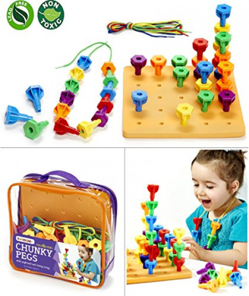 Peg Board Game Set 60 Chunky Pegs W  Board & Storage Bag W  Handle easy to Carry. For... by Twinkle Me