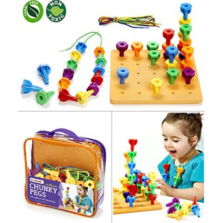Twinkle me Pegs Board Game Set - 60 Chunky Pegs W/ Board & Storage Bag W/ Handle Easy to Carry. for Motor Skills Sorting Counting Color Recognition Occupational Therapy Toddler and Preschool - Pre K Halloween Games