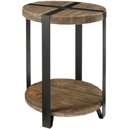 - Modesto Round End Table, Rustic Natural