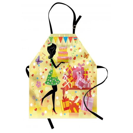 Birthday Apron Beautiful Young Woman and Birthday Cake Table Full of Presents Butterfly Figure, Unisex Kitchen Bib Apron with Adjustable Neck for Cooking Baking Gardening, Multicolor, by Ambesonne ()
