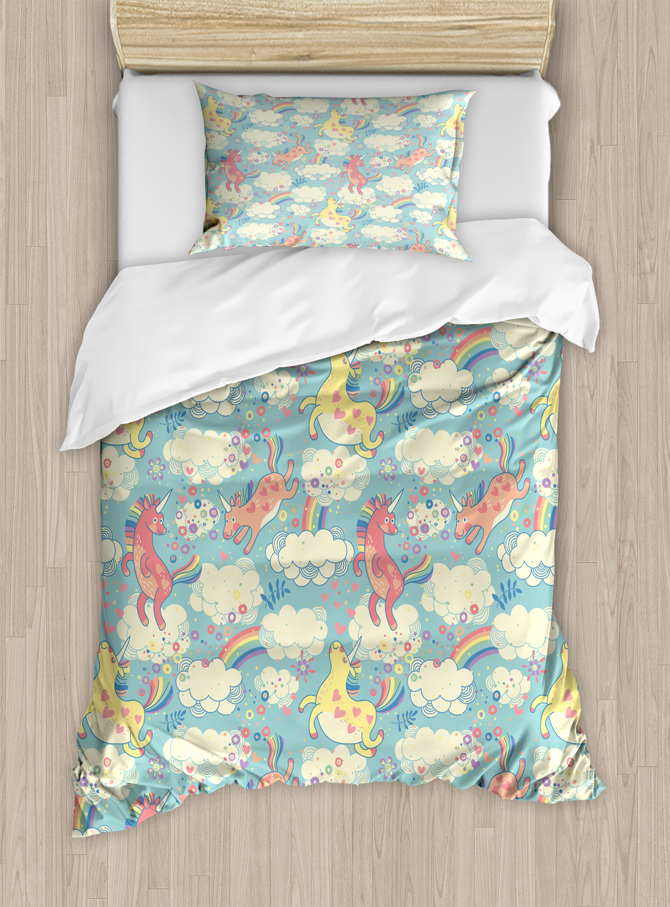 Pastel Twin Size Duvet Cover Set, Rainbow Unicorns Flying in Sky with Clouds Children... by Kozmos