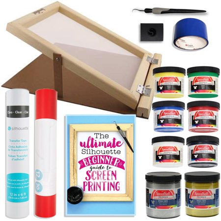 Custom Screen Printing (Silhouette Cameo Screen Printing Bundle with Extra Paints and 10 Inch x 14 Inch Screen with Base )