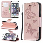iPhone 6S Wallet Case, iPhone 6 Case, Dteck Embossed Butterfly Flip PU Leather Stand Card Slots Case Cover with Hand Strap For iPhone 6s / iPhone 6, Pink