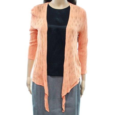 Emaline NEW Orange Womens Medium PM Petite Open-Front Cardigan Sweater a3690785f