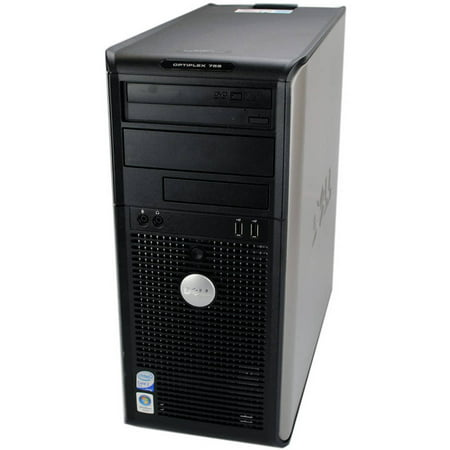Refurbished Dell OptiPlex 755 Tower Desktop PC with Intel Core 2 Duo Processor, 4GB Memory, 250GB Hard Drive and Windows 10 Pro (Monitor Not Included) ()