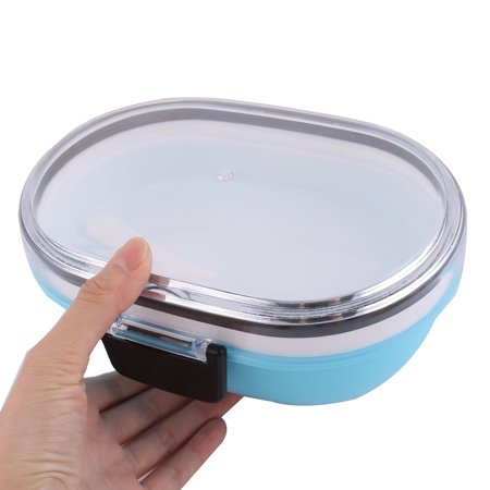 Travel Outside Plastic Oval Shaped Lunch Breakfast Food Holder Box Container - image 1 of 3