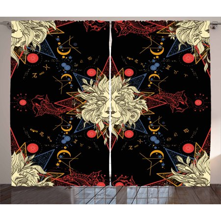 Medieval Lion Symbol (Astrology Curtains 2 Panels Set, Medieval Mystic Lion Astrological Symbols of Zodiac Antique Style, Window Drapes for Living Room Bedroom, 108W X 108L Inches, Red Blue Gold and Black, by)
