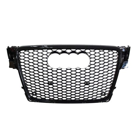 RS4 Style Honeycomb Hex Gloss Black Mesh Front Grille Grill fits for Audi A4 B8 S4 2008-2012