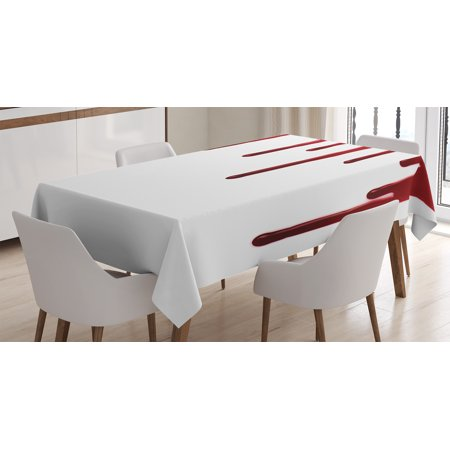 Tablecloth, Flowing Blood Horror Spooky Halloween Zombie Crime Scary Help me Themed Illustration, Rectangular Table Cover for Dining Room Kitchen, 60 X 84 Inches, Red White, by Ambesonne](Scary Halloween Room Decorating Ideas)