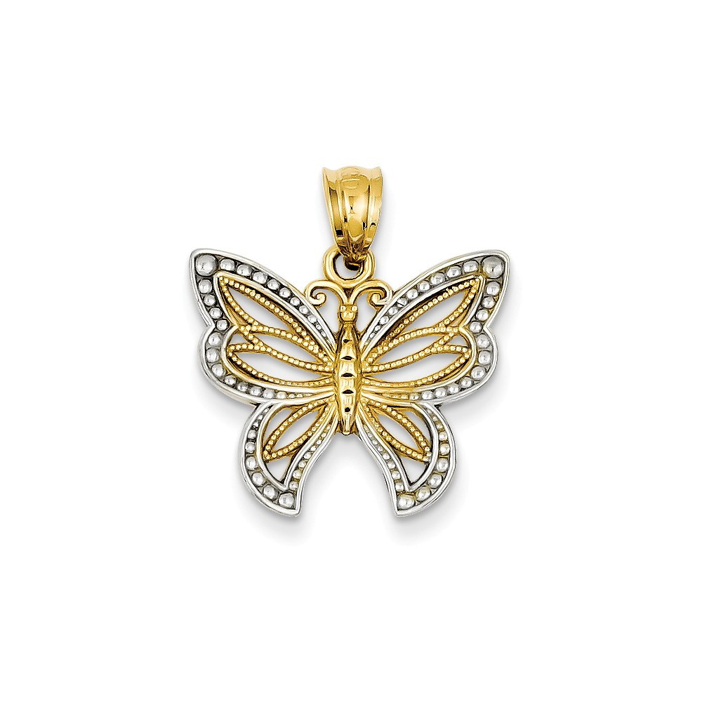 14K Yellow Gold and Rhodium Polished Filigree Butterfly Pendant