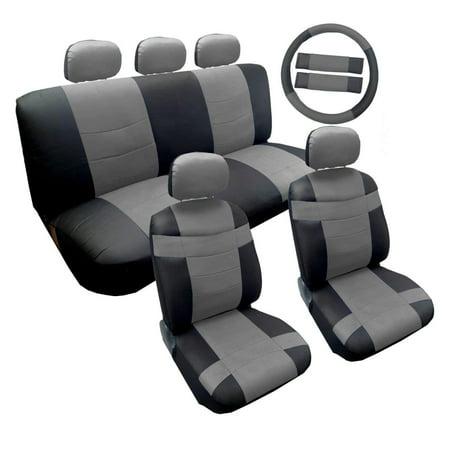 Two Tone Premium Gray on Black Synthetic PU Faux Leather Seat Cover Set 14pc For Kia Soul Kia Sportage Car Seat Cover