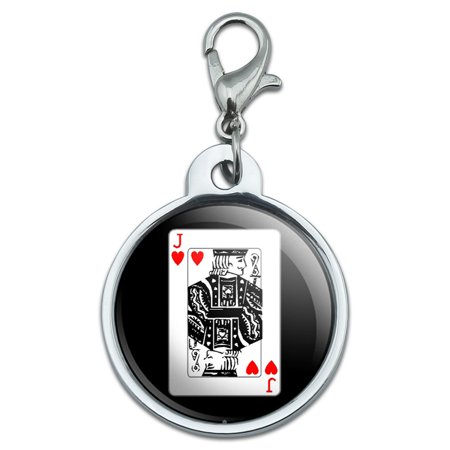 Heart Shape Pet Tag (Playing Cards Jack of Hearts Small Metal ID Pet Dog Tag )