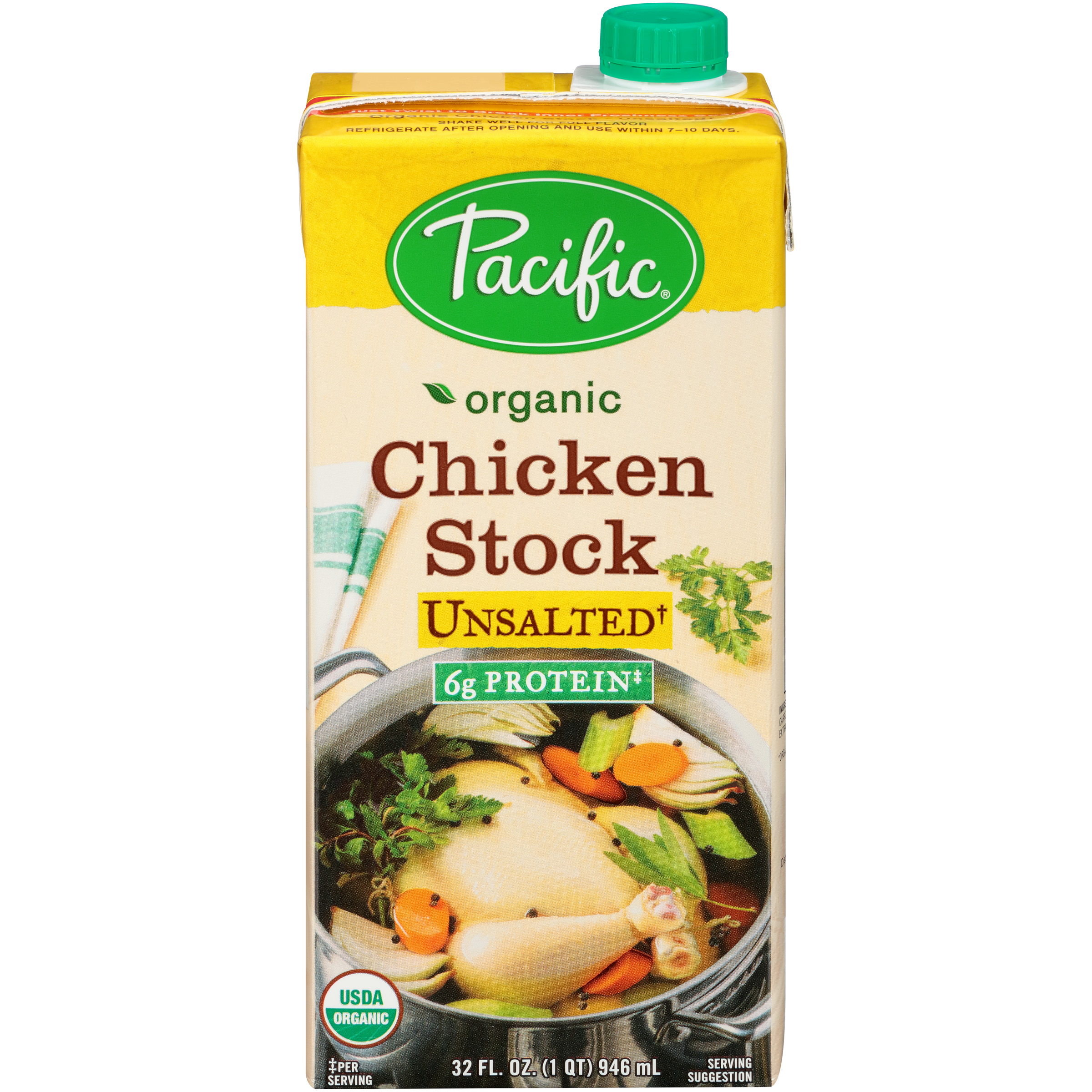 Pacific Foods Organic Unsalted Chicken Culinary Stock, 32-Ounce