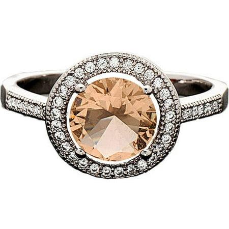 Swarovski Elements 14kt White Gold-Plated Heart-Cut November Citrine Ring