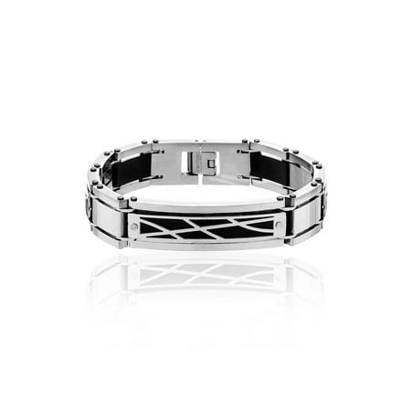 - Men's Stainless Steel Two-Tone Design and Rivet Link Bracelet