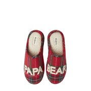 Dearfoams Mens Papa Bear Plaid Clog Slippers