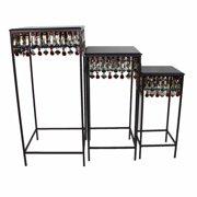 Embellishing Squared Metallic Accent Table Set , Black, Set Of 3