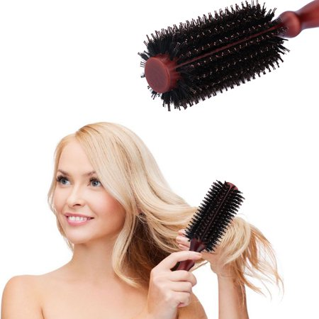 (Round Hair Brush, Styling Essentials Round Style Natural Classic Boar Bristles Light Wood Handle Hair Brushes 20 Row)