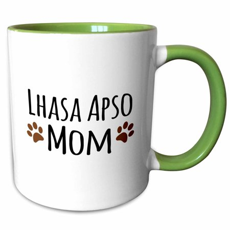 Lhasa Apso Dogs - 3dRose Lhasa Apso Dog Mom - Doggie by breed - muddy brown paw prints - doggy lover - pet owner mama love - Two Tone Green Mug, 11-ounce