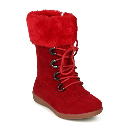New Girls Faux Suede Lace Up Faux Fur Cuffed Winter Boot - 18069 By Jelly Beans](Faux Fur Boot Covers)