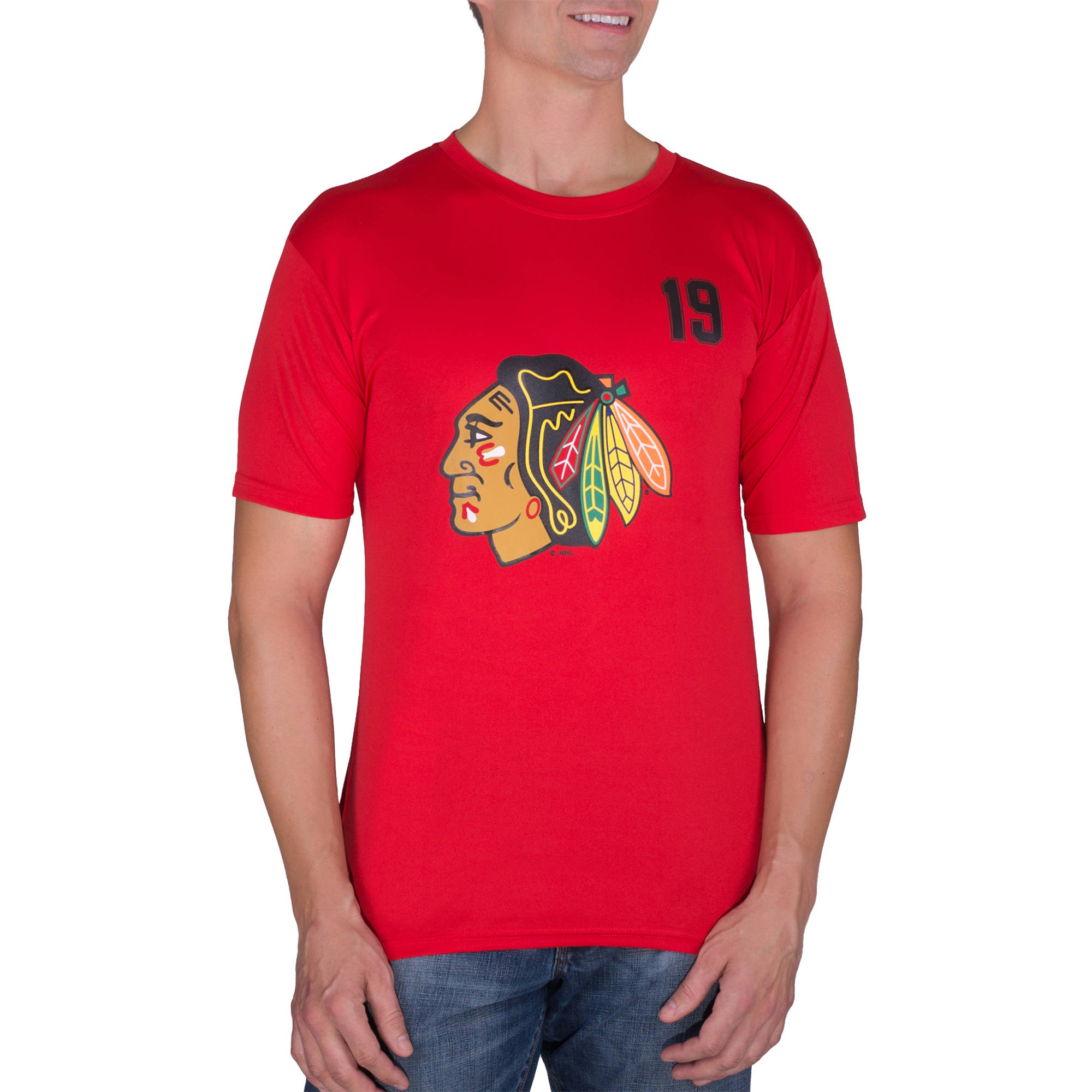 NHL Chicago Blackhawks Jonathan Toews 19 Men's Athletic-Fit Impact Tee Shirt