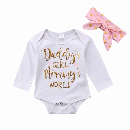 ced762c8 Daddy's Girl Mommy's World Newborn Infant Baby Girls Clothes Romper  Bodysuit Jumpsuit + Headband Outfits Set