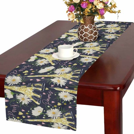 MKHERT Vintage Paris Eiffel Tower with Hearts and Daisy Chamomile Flowers Table Runner Home Decor for Kitchen Dining Wedding Party 16x72 Inch