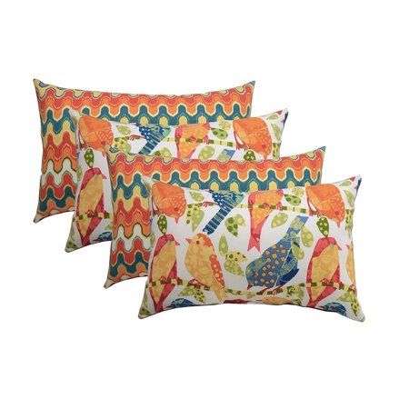 Set of 4 Indoor / Outdoor Decorative Lumbar / Rectangle Pillows - 2 Ash Hill Orange Blue Yellow Garden Birds & 2 Flame Stitch