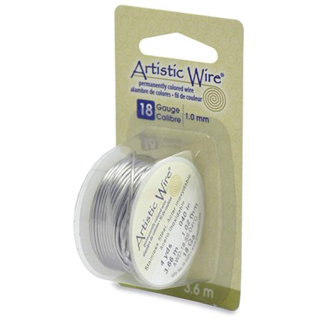 Beadalon - Artistic Wire Colored Copper Craft Wire - 18 Gauge (1mm) - 4 yds. - Stainless Steel