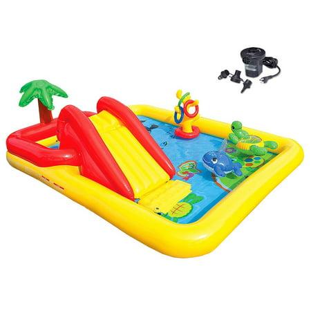 Intex Ocean Play Center Kids Inflatable Wading Pool + Quick Fill Air Pump