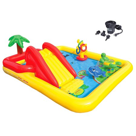 Intex Ocean Play Center Kids Inflatable Wading Pool Quick Fill Air Pump