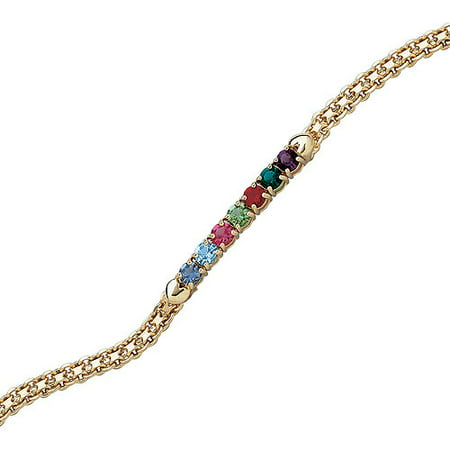 Family Jewelry Personalized Mother's 14kt Gold-Plated Birthstone Bracelet, 8