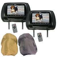 "Tview 7"" TFT LCD Headrest Monitor 3 interchangeable headrest covers IR Transmitter"