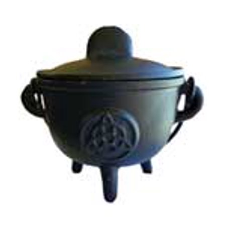 Triquetra Cast - Party Games Accessories Halloween Séance Cauldrons Triquetra Cast Iron Three Legged with Handle and Lid 5