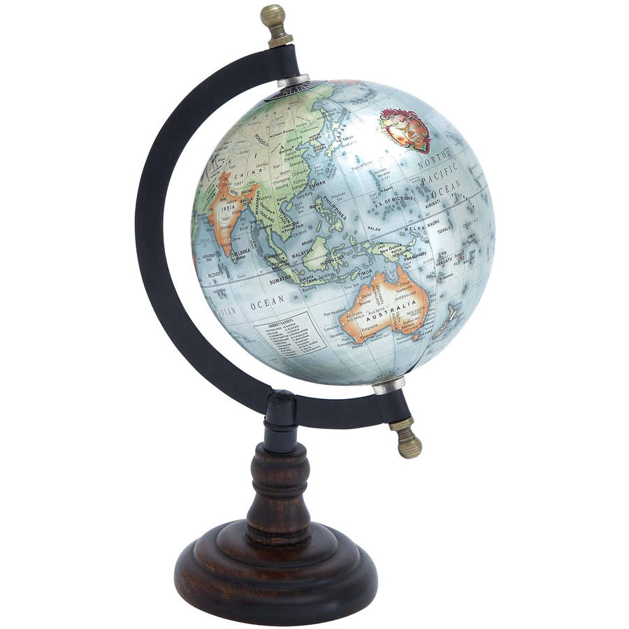 Decmode Metal and Wood Globe, Multi Color