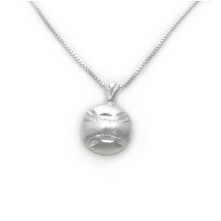 Sterling Silver Baseball Softball with Etched Design Charm Necklace (Softball Charms)
