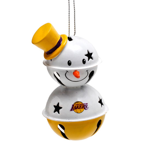 Los Angeles Lakers Two-Tier Snowman Bell Ornament